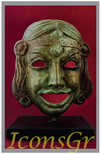 Griego antiguo Bronce Museo Estatua réplica de máscara de teatro de comedia (1410)