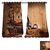 WilliamsDecor Window Curtain Drape American Texas Style Country Music Guitar Cowboy Boots USA