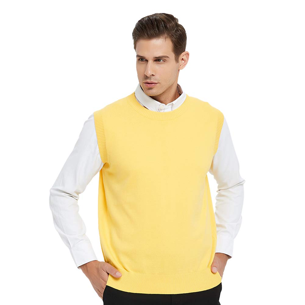 TOPTIE Men's Business Sweater Vest Cotton Jumper Top-Yellow-L by TOPTIE