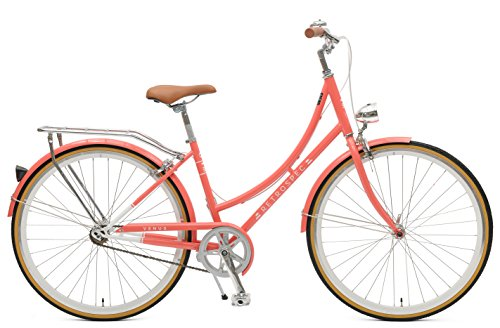 Retrospec Bicycles Step-Thru Frame Venus-1 Single-Speed Urban Commuter City Bicycle, Coral, - Frames Soho