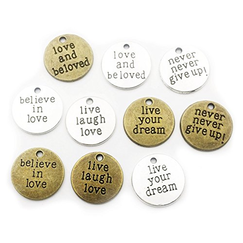 40pcs Round Inspiration Words Charms Craft Supplies Mixed Pendants Beads Charms Pendants for Crafting, Jewelry Findings Making Accessory For DIY Necklace Bracelet M70