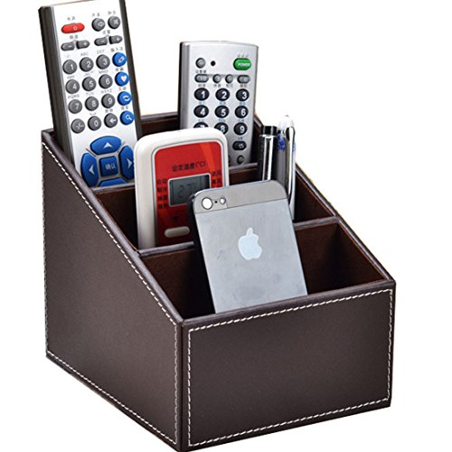 3 Slot Leather Desk Pu Leather Remote Control/controller Tv Guide/mail/cd Organizer/holder/caddy/storage Box Case (Coffee)