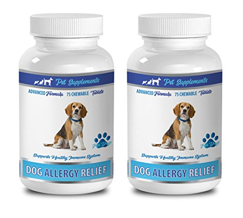 PET SUPPLEMENTS & NUTRITION LLC Dog Itch Remedies - Allergy and Itch Relief for All Dogs - Any Size - with Turmeric and QUERCETIN - Immune Boost - Turmeric for Large Dogs - 2 Bottles (150 Tablets)