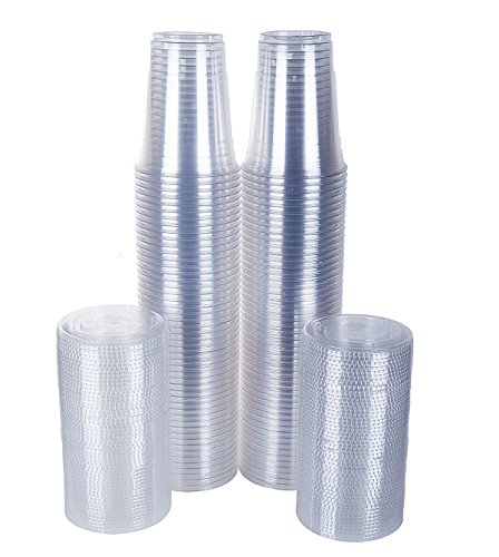 TashiBox Disposable 16 oz Plastic Cups with Flat Lids, 100 Sets, Clear Crystal