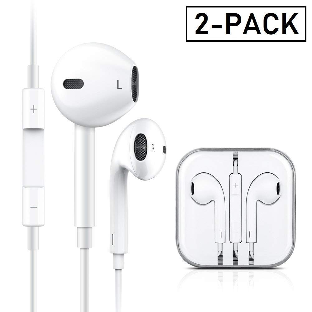 Headphones Earphones Earbuds,in-Ear Wired Headphones Noise Isolating Earphones Built-in Microphone Volume Control Compatible Apple iPhone 6s plus 6 5s se 5c iPod iPad Android White 2Pack