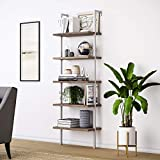 Nathan James 65502 Theo 5-Shelf Wood Ladder Bookcase with Metal Frame, Natural Light Brown/White