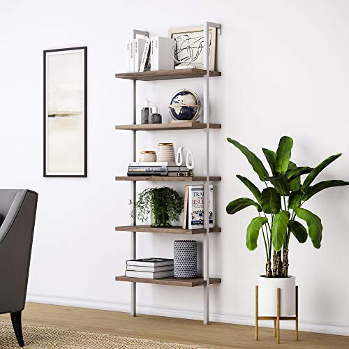 Nathan James 65502 Theo 5-Shelf Wood Ladder Bookcase with Metal Frame, Natural Light Brown/White (White Bookcase Bookshelf)