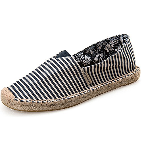 Alexis Leroy Striped Canvas Flat Espadrilles Women Blue
