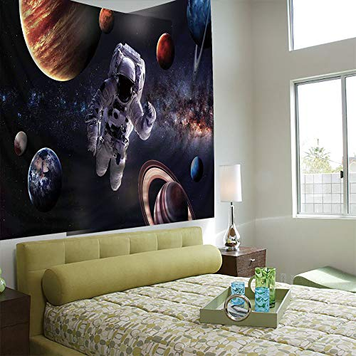 (AngelSept Tapestry Wall Hanging 3D Printing Tree Tapestry Wall TapestryLiving Room Bedroom,Outer Space Decor,Astronaut Between Planets Mars Neptune Jupiter Plasma Ethereal Sphere Picture,Multi)