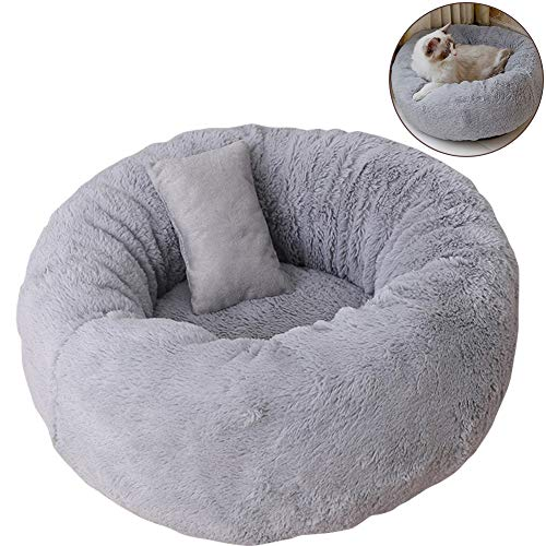 TINTON LIFE Luxury Plush Pet Bed with Pillow for Cats Small Dogs Round Donut Cuddler Oval Cozy Self-Warming Cat Bed for Improved Sleep, Grey S