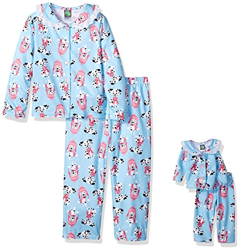 Dollie & Me Girls' Big 2 Piece Flannel Button Front Sleep Set with Matching 18 Inch Doll Outfit, Blue Puppy 5 ()