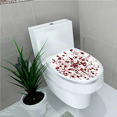 aolankaili Toilet Seat Sticker of Blood Grunge Style Bloodstain Horror Scary Zombie Halloween Themed Print Red White W8 x L11]()