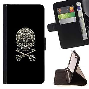 Momo Phone Case / Flip Funda de Cuero Case Cover - Cráneo llave simbólica del motorista Negro floral - Samsung Galaxy A5 ( A5000 ) 2014 Version