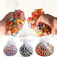 Mesh Squishy Ball with Lights Pressure Relieve Ball Anti-Stress Anti Anxiety Toy for Kids & Adults Grape Ball Random Colors (Pack of 2) Toy for Autism,ADHD,Hyperactive