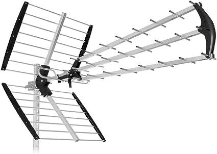 New. Antena 45 elementos SH45/tu-b para Digital Terrestre/Mediaset/Rai/DVB-T2 – dipolo con filtro LTE/4G In-Line – Listo Al Uso (Soli 5 segundos – ...