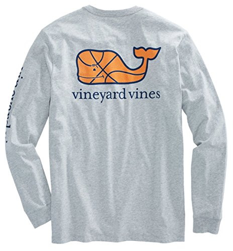 Vineyard Vines Mens Signature Graphic Long Sleeve Pocket T Shirt  Small  Basketball Gray Heather