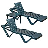 Resol Green Sun Lounger - (Pack of 2 Sun Loungers and 1 Matching Table) - UV Resistant, stylish and durable furniture for your garden
