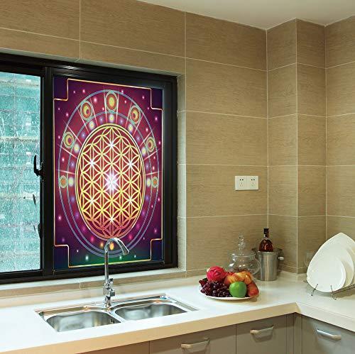 YOLIYANA Colorful Window Film,Sacred Geometry,for Toilet Bathroom Balcony,Spiritual Symbolic Abstract Shapes Mathematics and Artsy Digital,24