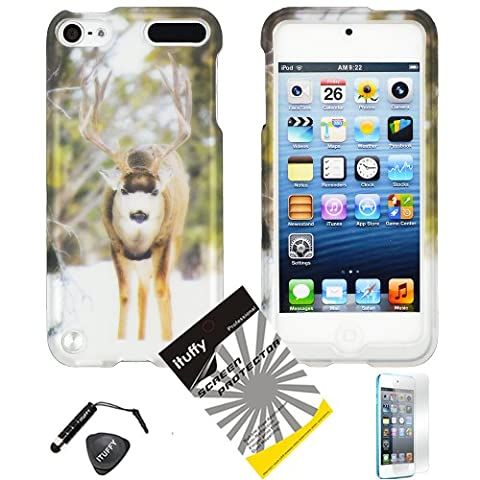 4 items Combo: ITUFFY (TM) LCD Screen Protector Film + Mini Stylus Pen + Case Opener + Outdoor Wild Reindeer White Snow Camouflage Design Rubberized Snap on Hard Shell Cover Faceplate Case for Ipod Touch 5 (5th Generation Ipod - Case Faceplate Cover Ipod
