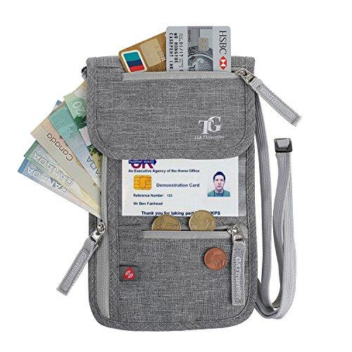 RFID Blocking Passport Holder Neck Stash Pouch Security Hidden Travel Neck Wallet (Leather Wallet Passport Security)