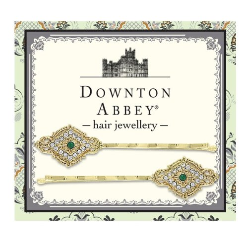 Downton Abbey® Emerald Green and clear Crystal Gold tone Filigree Hair Pin - Gifts Set Spaniel