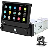 Hikity Android 1 Din Car Stereo 7 Inch Flip Out Touch Screen Radio Receicer Supports FM Bluetooth WiFi GPS Navigation Mirror