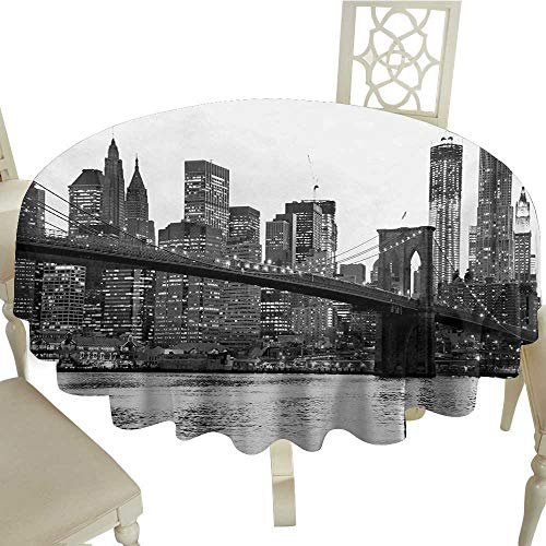 - gingham round tablecloth 50 Inch Modern,Brooklyn Bridge Sunset with Manhattan American New York City Famous Town Image,Black and White Suitable for Party,outdoors,Farmhouse,coffee shop,restaurant More