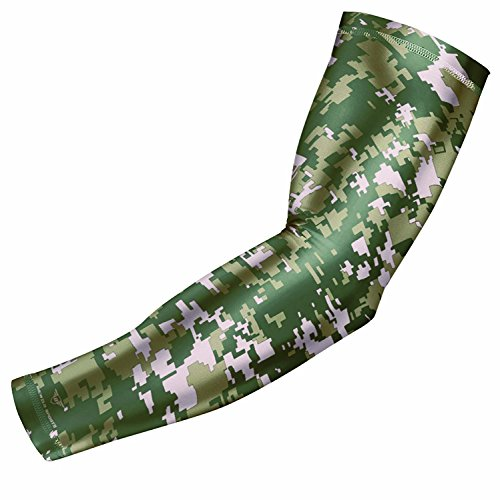 Bucwild Sports Digital Camo Compression Arm Sleeve Youth/Kids & Adult Sizes - Baseball Basketball Football Running - UV/Sun Protection Cooling Base Layer(Army & Olive Green - Adult Small)