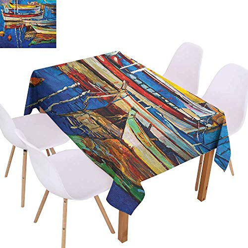Restaurant Tablecloth Country Folk Art Style Paint of Boats on Shore at Golden Sunset Cruising by The Sea Print Soft and Smooth Surface W70 xL102 Multicolor