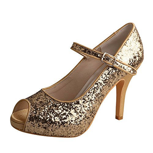 Heel Peep Womens Shoes Janes Evening High Gold Wedopus MW760 Glitter Mary Party Toe SwH0H4