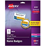 "Avery Premium Personalized Name Tags, Print or Write, 2-1/3"" x 3-3/8"", 160 Adhesive Tags (8395) - 08395, white"