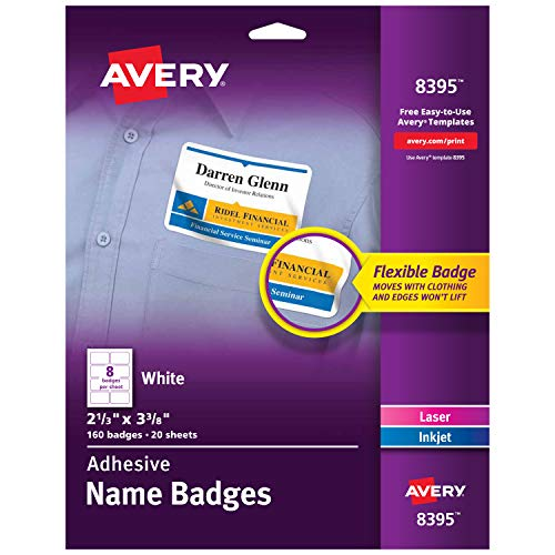 Self Adhesive Name Badges - Avery Premium Personalized Name Tags, Print or Write, 2-1/3