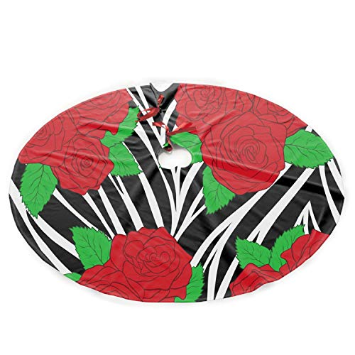 Starfactr Polyester Plush Cloth Christmas Tree Skirt Roses On Animal Zebra Abstract Christmas Party Decoration