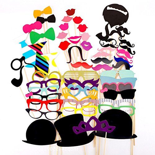 [58 Pieces ZICA Photo Booth Props Party Favor Dress-up Accessories Costumes with Mustache, Hats, Glasses, Lips, Bowler, Bowties for Wedding Party Graduation] (Baseball Costume Accessories)