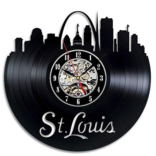 St. Louis City Vinyl Record Clock Wall Decoration Modern Vintage Art Room