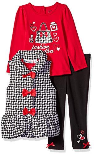 Kids Headquarters Baby Girls 3 Pieces Vest Set, red/Black, 24M