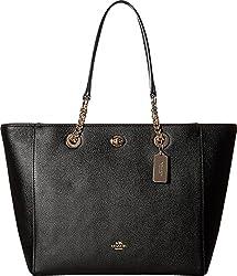 COACH Women's Pebbled Turnlock Chain Tote LI/Black Handbag