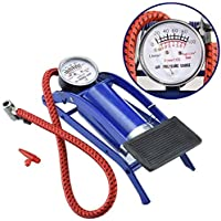 R_V Enterprise® High Pressure Foot Pump, Bike Motorbike Inflation Pump with Pressure Gauge, Foot Pedal Inflator Single Barrel Cylinder Air Pump Inflation Pump for Personal Use