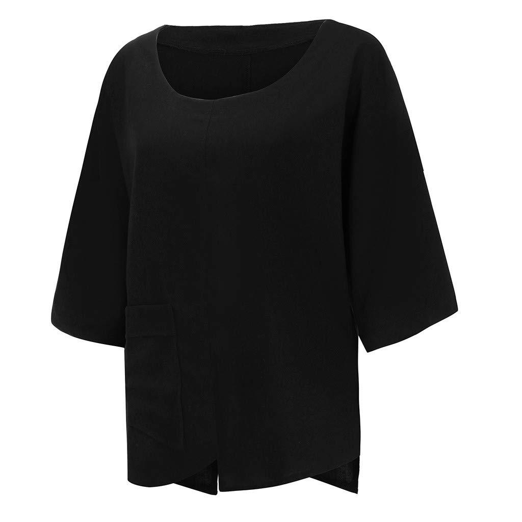 Plus Size Women O-Neck Pure Color Pocket Irregularity Half SleeveTops Camis Tunics Blouse Black