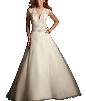 George Bride A Line Fitted Bodice V Shaped Neckline Wedding Dress
