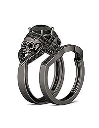 Tusakha 2.0 CT Round Cut Created Black Diamond Skull Ring 18K Black Gold Plated