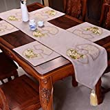 LAONA-Chinese-style cotton-linen table runner classic Western style garden dining art flag coffee table living room table cloth,Gray,33*260cm