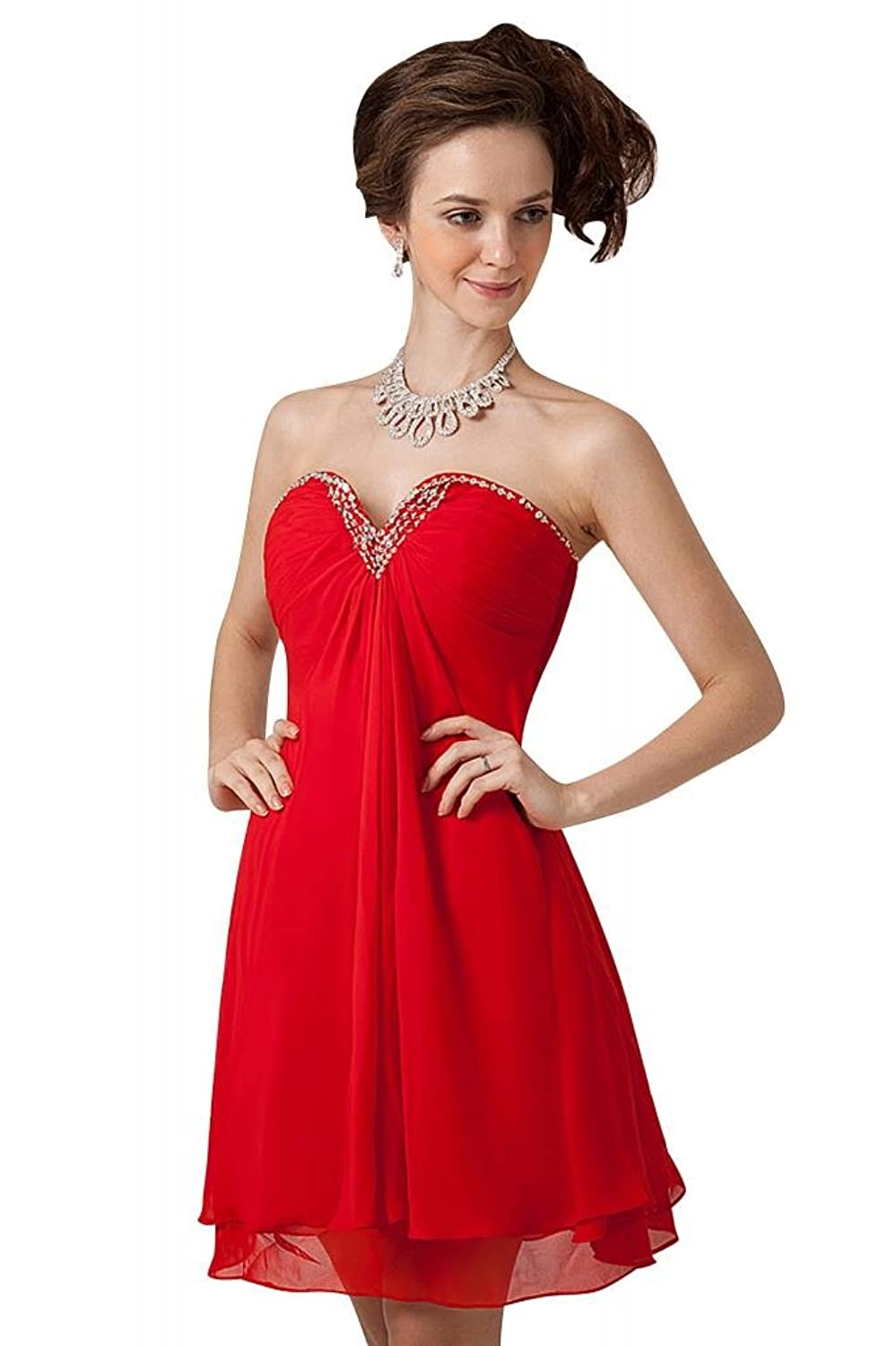 GEORGE BRIDE Red Short Chiffon Party/Evening Dress