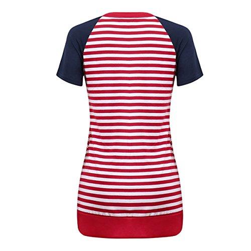 Courtes d't Shirts Red Tops causales Manches Couleur ray Femmes Tops Raglan Bloc T de C0zwaAq