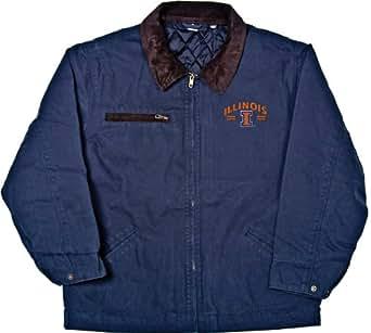 NCAA Men's Illinois Illini Tradesman Brushed Canvas Zip Front Workwear Jacket, Navy, Medium