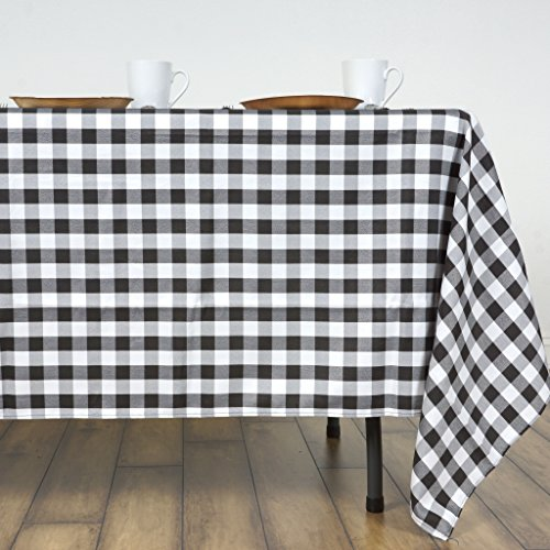 Checker Dress Cotton - LinenTablecloth 60 x 126-Inch Rectangular Polyester Tablecloth Black & White Checker