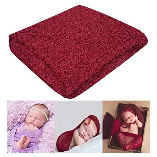 Bassion Newborn Photography Props Newborn Baby Stretch Long Ripple Wrap Yarn Cloth Blanket, Red Wine, One Size