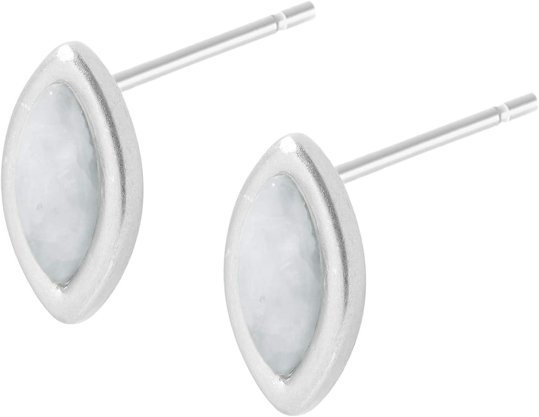 Sence Copenhagen K527 - Pendientes de plata para mujer, color aguamarina y plata mate con piedra de aguamarina plateada