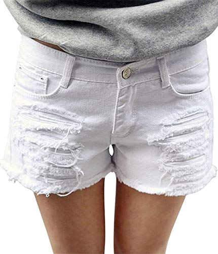 onlypuff White Jean Shorts for Women Distressed Junior Denim Shorts High Waist Zipper L