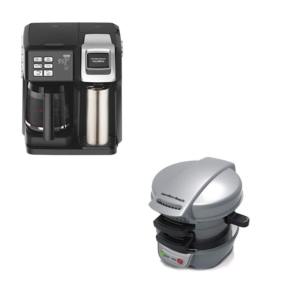 Hamilton Single Serve & Full Pot Coffee Maker w/Press Breakfast Sandwich Maker